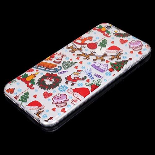 EUWLY Cover per iPhone 6/iPhone 6s (4.7), EUWLY Custodia per iPhone 6/iPhone 6s (4.7) Silicone Trasparente TPU Case Xmas Christmas Natale Flessibile Morbido Custodia Cover Ultra Sottile Soft TPU Gel Christmas