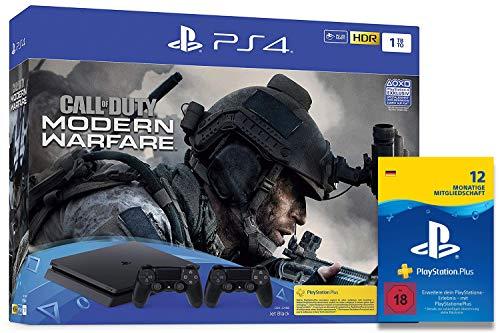 Sony Interactive Entertainment PlayStation 4  Slim inkl. 2 Controller und Call of Duty: Modern Warfare - Konsolenbundle (1TB, schwarz, Slim) + PlayStation Plus Mitgliedschaft | 12 Monate