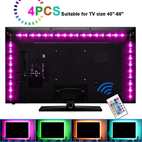 Boomile LED TV Backlight, USB LED Strip Lights 6.56ft 2M 5050 RGB Light Strips Kit Bias Lighting with Remote Control for HDTV, Flat Screen TV Accessories Desktop Monitors PC, Multi Color