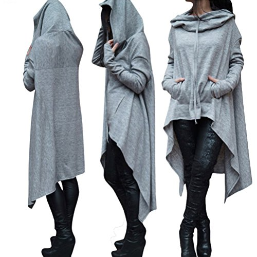 Zhhlaixing Moda popolare Plus Women Long Hooded Sweater Irregular Hem Shirt Design Solid Color Special Tops Multicolor Pink
