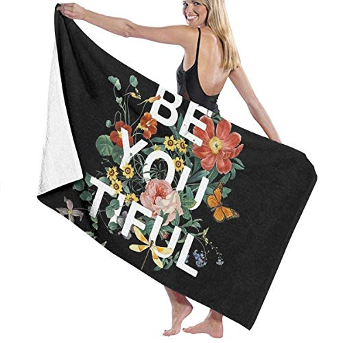 Be You Tiful Beach Towel Travel Towels for Camping,Sports,Yoga,Swimming,Gym Quick Dry Bath Towel 31.5