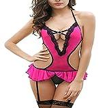 Billebon Women's Lycra Silk Mini Babydoll Sleepwear Teddy Dress (Pink and Red, Free Size)