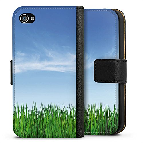 Apple iPhone X Silikon Hülle Case Schutzhülle Wiese Horizont Gras Sideflip Tasche schwarz