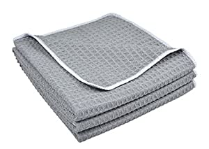 Sinland Microfibre Waffle Weave Kitchen Towels Dish Drying Towels Dish Cloths 380gsm 3 Pack 40cmx60cm Grey