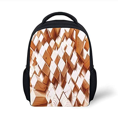 Kids School Backpack Geometric Decor,Natural Wooden Rustic Square Figures High and Low Oak Logs Timbre Design,Sand Brown Plain Bookbag Travel Daypack -