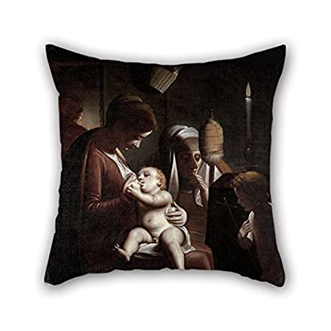 Alphadecor Throw Pillow Case Of Oil Painting Luca Cambiaso - Madonna Of The Candle,for Him,bar Seat,boy Friend,saloon,office,kitchen 20 X 20 Inches / 50 By 50 Cm(both