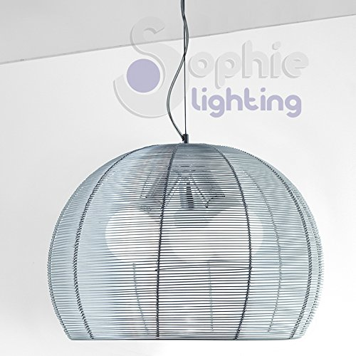 Globe-diffusor (Moderne Hängeleuchte Design Höhenverstellbar 3 Lichter Diffusor Aluminiumdraht Rund Globe Kugel Chrom Küche Tisch TEKSAB S50 SOPHIE LIGHTING)