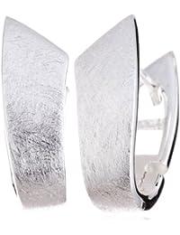 Vinani Klapp-Creolen U-Form gebürstet-glänzend Sterling Silber 925 Ohrringe CDGG