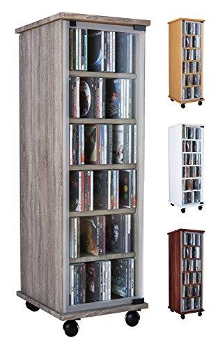 VCM 30023 CD DVD Regal Turm Tower Vitrine Schrank Möbel mit Rollen Drehbar Farbwahl 98 x 31 x 35 cm Valenza