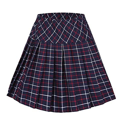 Urban GoCo Falda Escocesa Plisada con Cintura Elástica para Mujeres (XL, series 7 rojo)