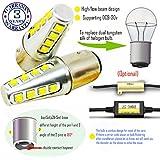 Wiseshine bay15d 1157 p21 5w led ampoule DC9-30v 3 ans d'assurance de la qualité (paquet de 2) Poutre haute/basse bay15d 16 led HP jaune