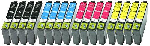 Preisvergleich Produktbild 16 XL Druckerpatronen Schwarz, Cyan, Magenta, Yellow ersetzen Epson T1631 T1632 T1633 T1634 Nr.16 Nr.16XL geeignet z.B. für Epson WorkForce WF-2010, WF-2510, WF-2520, WF-2530, WF-2540, WF-2630, WF-2650, WF-2660, WF-2750, WF-2760