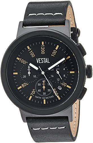 Vestal Quartz Stainless Steel and Leather Dress Watch, Color:Black (Model: SLR44CL03.BKWH)