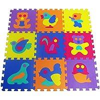 Rivenbert Alfombra Puzle para Niños | en Espuma EVA | 9pz Alfombra Infantil para Jugar | con Diseños de Animales Desmontables by