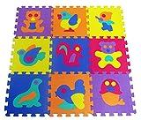 9 Stück süßen EVA Foam spielen Matten Stock Puzzle mit Tieren | Spielmatte für Kleinkinder Kinder Kinder | Stellwerk Stücke | Helle Farbe by RIVENBERT