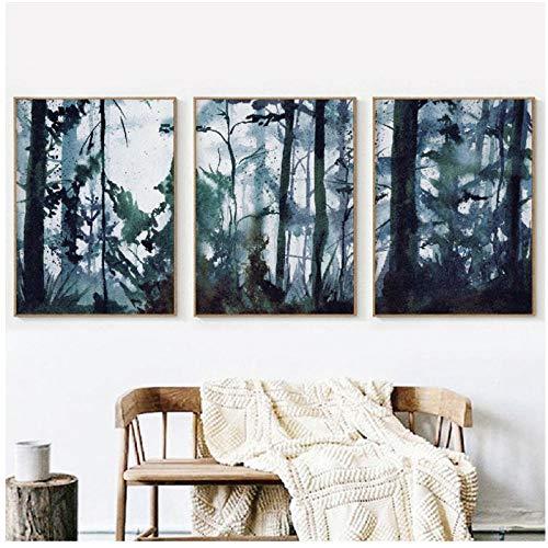 kingxqq Aquarell Wald Landschaft Wandkunst Leinwand Poster Drucken Original Kunst Malerei Nordic Bild Home Room Decor-30x40x3Pcscm Kein Rahmen -