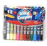 #2: Oytra Set of 12 Silky Crayons Set | 12 Colours | Washable, Non-Toxic | Use on Paper or Canvas | No Odour | Water soluble colours | Smooth