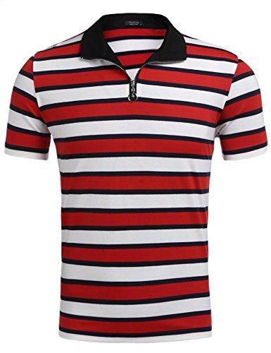 Zeela Herren Retro Streifen-T-Shirt Freizeithemd Kurzarm Zip Shirt mit Turtle Hals Größe S-XXL (Streifen T-shirt Retro Weiches)