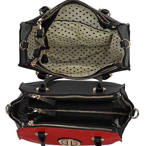 TrendStar Damen Entwerfer Schultertasche Damen Berühmtenart Kunstleder Handtaschen Schwarz/Rot