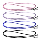 ROSENICE 4Pcs Leder Brille Umhängeband String Rope Band Leder Brillenband verstellbare Ende Gläser Halter (blau lila schwarz und Pink)