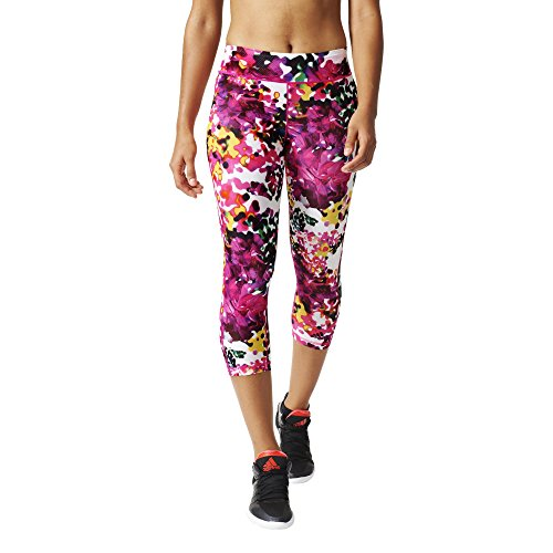 adidas Damen Tights Workout Flower 3/4, Multicolor/Shock Pink, M,