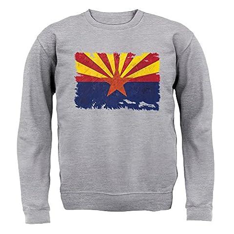 Arizona Flagge im Grunge-Stil - Unisex Pullover/Sweatshirt - Grau meliert - XXL
