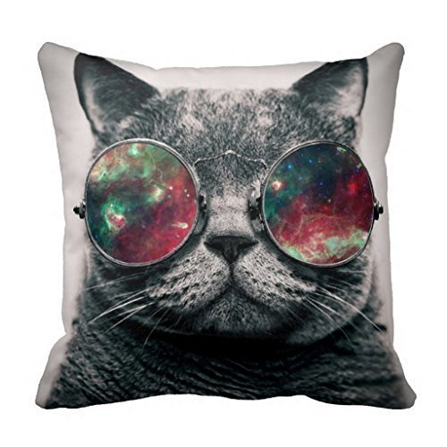 Juzijiang Sofa and Couch Pillow Cover Cat Wearing Sunglasses Throw Pillows Case16X16 inch