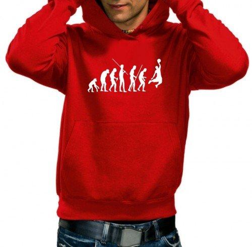 Coole-Fun-T-Shirts Sweatshirt BASKETBALL - Evolution ! HOODIE, rot, M, 10690_Rot-HOO_GR.M