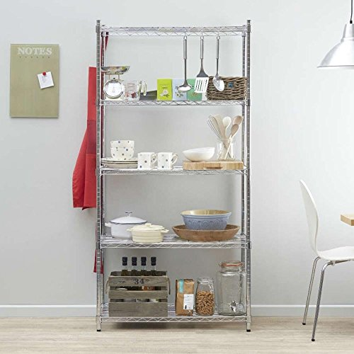 Cheapest Chrome Wire Shelving Unit – 5 Tiers, H1800 x W900 x D450 mm – Multipurpose Commercial Quality Shelving Special