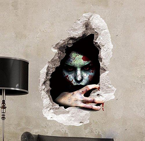 (Zooarts Halloween Face Blut Ghost Wand Aufkleber Abnehmbar Wand Aufkleber Vinyl Aufkleber Art Decor Zimmer Wandbild)