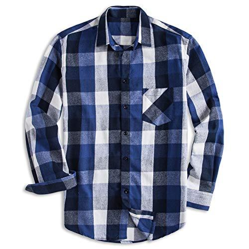 PIZZ ANNU 100% Baumwolle, langärmliges, Kariertes Fleece-Hemd, Flanellhemd(DTF02 XL) - Big And Tall Long Sleeve Work Shirt