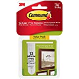 Command Picture Hanging Strips Value Pack, Medium, White, 12-Strips (17204-12ES) by Command