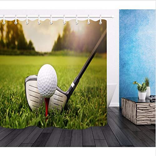 Fandhyy doccia cortina bagno impermeabile tessuto poliestere 12 ganci accessori per il bagno imposta golf sport campo da golf campo scenery