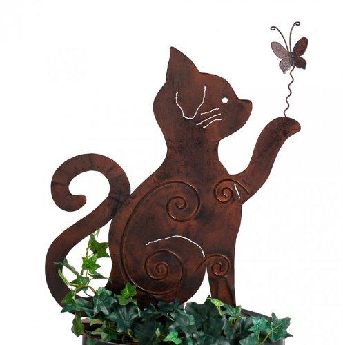 floristikvergleich.de Gartenstecker Beetstecker MIEZE Katze Metall rost Höhe 50 cm