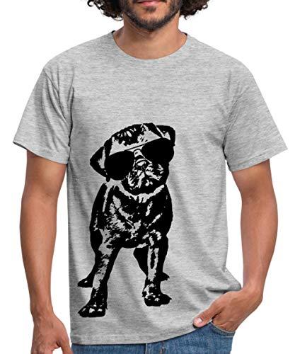Spreadshirt Mops Hund Mit Sonnenbrille Männer T-Shirt, L, Grau meliert