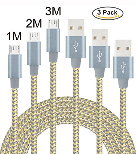 Flashstye 3Pack 1M 2M 3M Micro USB Cable Ultra Strong and Durable Nylon Braided Android Charging USB Cord for Android Device,Samsung Galaxy, TCL,Sony, Nexus,Motorola,Sprint and More.(Gold Gray)