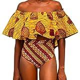 HP95(TM) Women Print Strapless High Waist Bottom Bikinis Set Swimwear Swimsuit (US Size:8-10