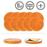 LED-MARTIN® 10er Sparset - Rückstrahler - Reflektor R2 - gelb/orange - mit Bohrung zur Festmontage - selbstklebend - rund - zugelassen für den Straßenverkehr (E-Zeichen eingeprägt) - LKW - Auflieger - Anhänger