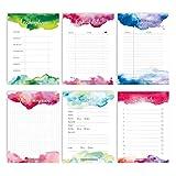6 Notizblöcke für Termine, Wochenplaner, Anrufe, to do Liste, Einkaufslisten und Notizen - Tagesplaner und Wochenplaner Aquarell - Ideal für Schule, Uni und Haushalt - Notizblock Set 1 - DIN A6