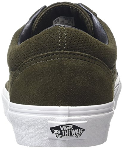 Vans Old Skool, Baskets Basses Mixte Adulte Vert (Perf Suede tarmac/true white)