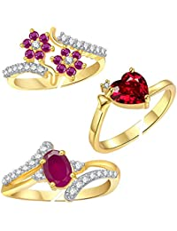 Lady touch Combo of Cz Red Stone Heart and Ruby Pink Adustable Finger Rings for Girls & Womens(Free Size)