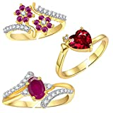 #2: Lady Touch Combo of Cz Red Stone Heart and Ruby Pink Adustable Finger Rings for Girls & Womens(Free Size)