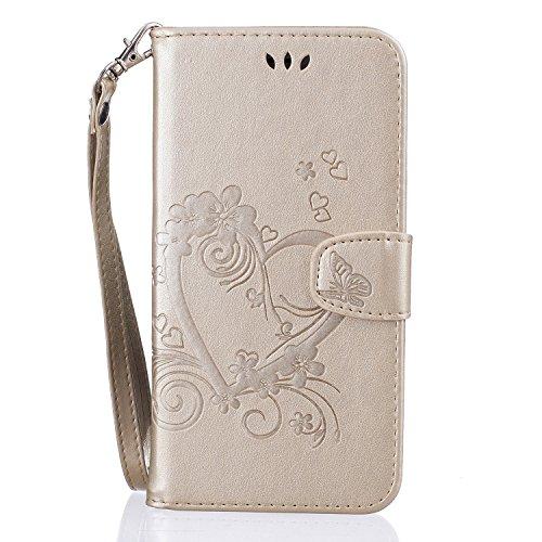 Cover per iPhone 8 Plus / iPhone 7 Plus, Vectady Custodia Cover in Pelle a Libro Portafoglio Wallet Magnetica Flip Cuoio Leather Case Protettiva Antiurto Caso con Porta Carte Funzione Cinturino da Pol Oro