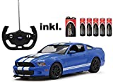 RC Ford Mustang Shelby GT500 - Blau oder Rot - Maßstab: 1:14 - LED-Licht - ferngesteuert, inkl. allen Batterien - RTR - LIZENZ-NACHBAU (BLAU 27MHz)