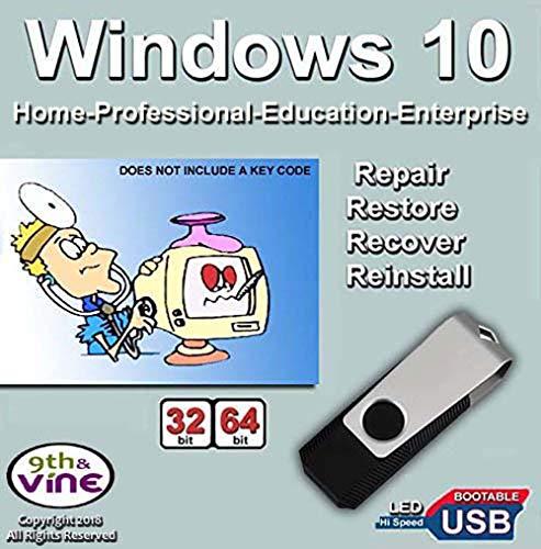 ür Windows 10 Home, Professional, Education, Enterprise 32/64 Bit Installation in Fabrikneu, wiederherstellen, reparieren und wiederherstellen. Fix PC, Laptop und Desktop. ()
