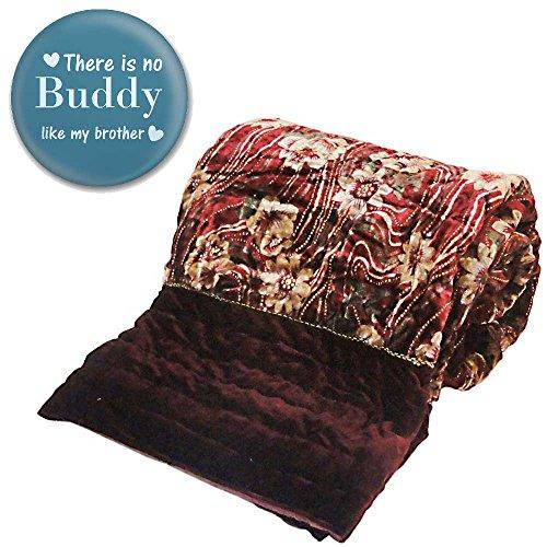 Little India Jaipuri Traditional Floral Pattern Velvet Cotton Double Bed Quilt -...