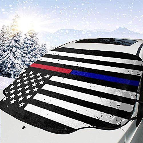 Sottile Linea Rossa e Blu Bandiera Americana Universal Car Snow Cover Visiera antigelo antigelo Calore Impermeabile e prevenzione del Sole Prevenzione del congelamento della Neve 147 * 118 cm