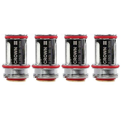 Riccardo Crown 3 Coils (0.25 Ohm), SUS316 Edelstahl, Uwell Verdampferköpfe für e-Zigarette, 4 Stück