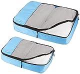 AmazonBasics Kleidertaschen-Set, 4-teilig, 2 mittelgroße und 2 große Kleidertaschen, Himmelblau - 3
