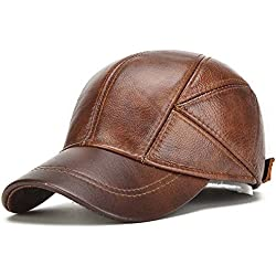 Invierno Casquillo de los Deportes Sombrero Ajustable Real de la Vaca Cuero de los Hombres de la Boina Sombrero de la Caza de béisbol para los Hombres (Brown)